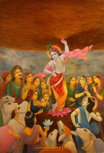 Krishna lifts Govardhan Hill